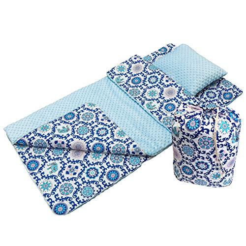 Babyboom Schlafsack für Kleinkinder, Kindergarten, Zuhause, Bettwäsche für Kinderbett - MINKY + 100% Baumwolle -Gr. 75x140 cm + Kissen 40x35 cm inkl. Tasche, made in EU (Ornament - hellblau)