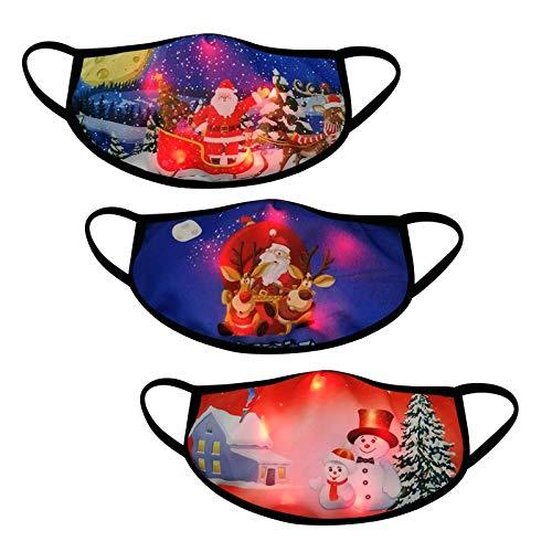 3 Stücke Erwachsene Halstuch Mundschutz Weihnachten LED Licht 3D Druck Bandana Atmungsaktiv Mund und Nasenschutz für Damen Herren (Kombination H)