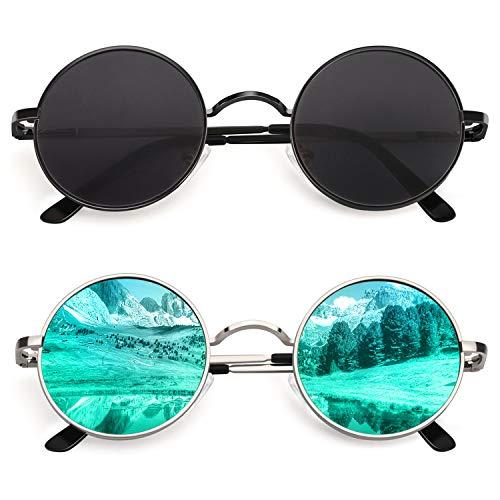 CGID Kleine Retro Vintage Sonnenbrille, inspiriert von John Lennon, polarisiert mit rundem Metallrahmen, für Frauen und Männer, CE, E01,2 Packung