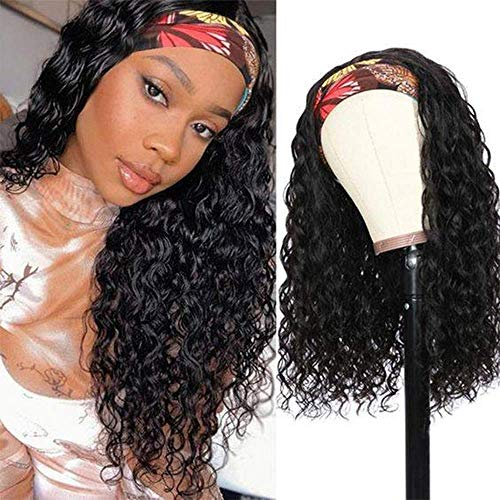 Curly Human Hair Wigs 10A Headband Wigs For Black Women Human Hair Wigs Glueless None Lace Front Wig 150% Density Brazilian Water Wave Half Wig (16 inch, Natural Color)