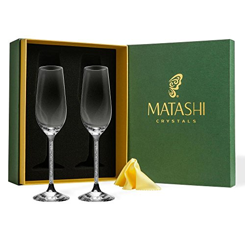 Matashi MTGLCH603C 8 oz. Champagne Set-Lead Free Titanium Crystal Sparkling Wine Glass, Elegant Fluted Filled Glassware-The Perfect Gift for T, 8
