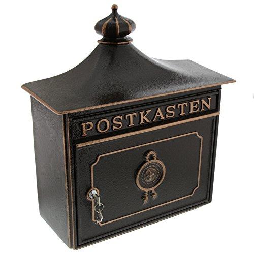 BURG-WÄCHTER Alu-Guss-Briefkasten mit Komfort-Tiefe, A4 Einwurf-Format, EU Norm EN 13724, Bordeaux 1895 BC, Bronze