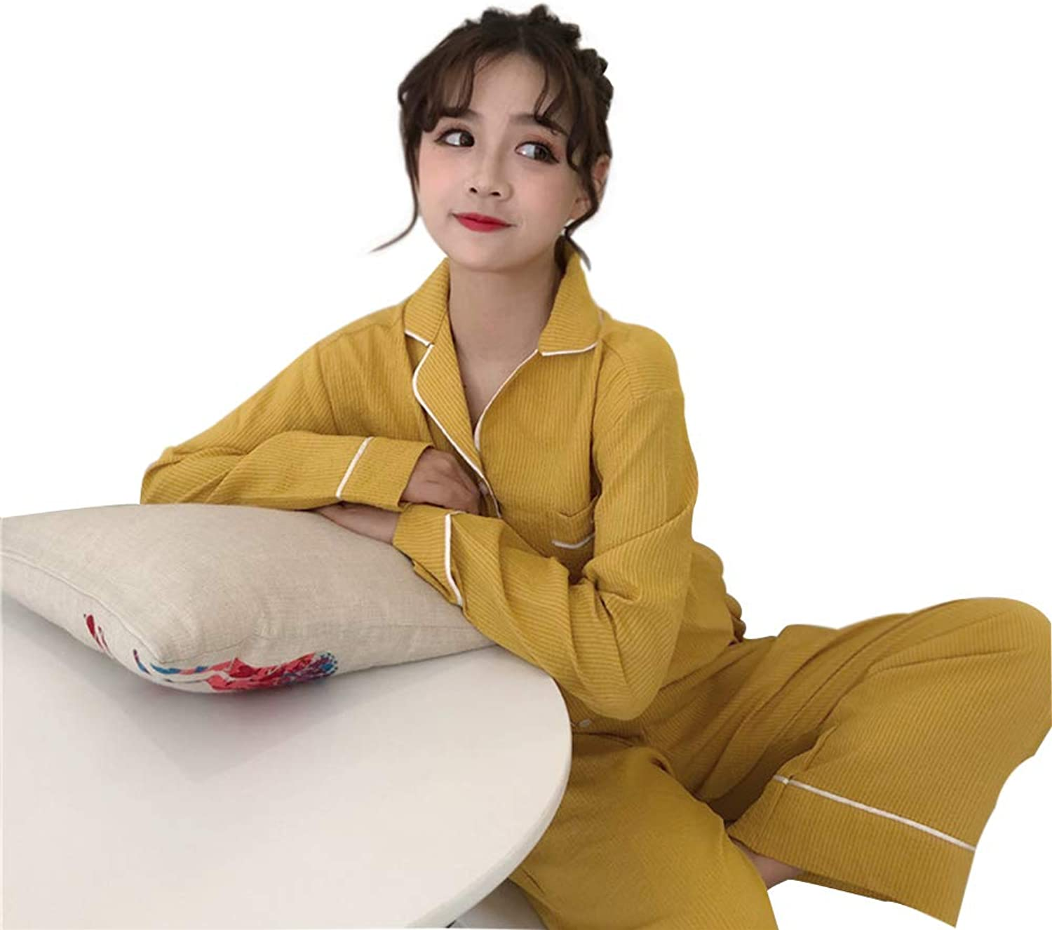 Spring Women's Clothing Pajamas Sweet Long Sleeve Bathrobe Pajama Pants TwoPiece Set Loose Student Leisure Home Clothes Suit Female,Yellow,OneSize