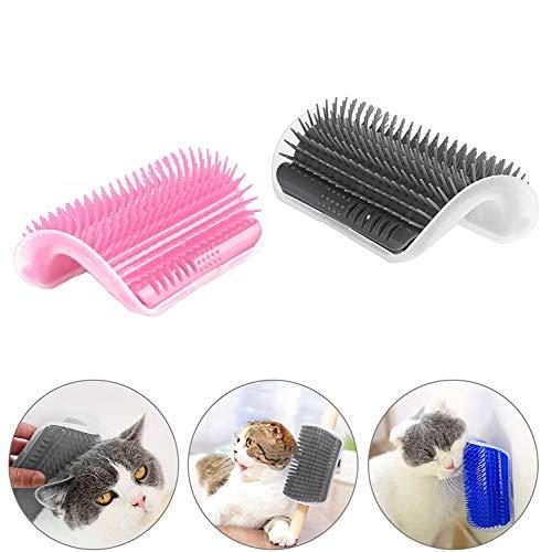 CZF ES 2 Piezas Cepillo de Esquina para Gatos, Gato Esquina De La Pared Masaje Peine Cepillo, Peine para Gato Juguete, para la Limpieza y el Aseo del Pelo de Felinos y Animales Domésticos