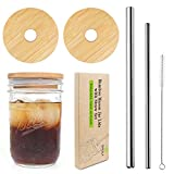 Mason Jar Lids with Straw, ECO Reusable Bamboo Lids, Wide Mouth Mason Jar Tumbler Lids, Mason Jar Tops with 2 Reusable Stainless Steel Straw - 2 Packs
