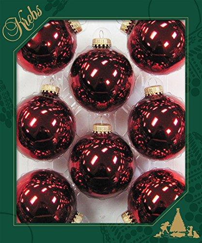 Lot de 8 boules uni rouge/violet/rose, 6,7 cm, avec couronne dorée Rose