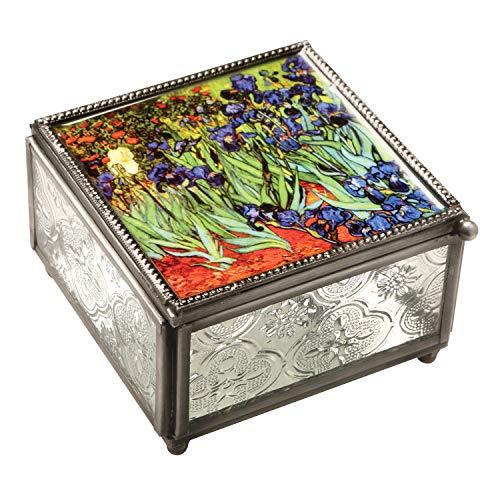 ART & ARTIFACT Van Gogh Irises Trinket Box - Pressed Glass Jewelry Box, 4