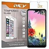 REY 3X Protector de Pantalla para LG K50s, Cristal Vidrio Templado Premium