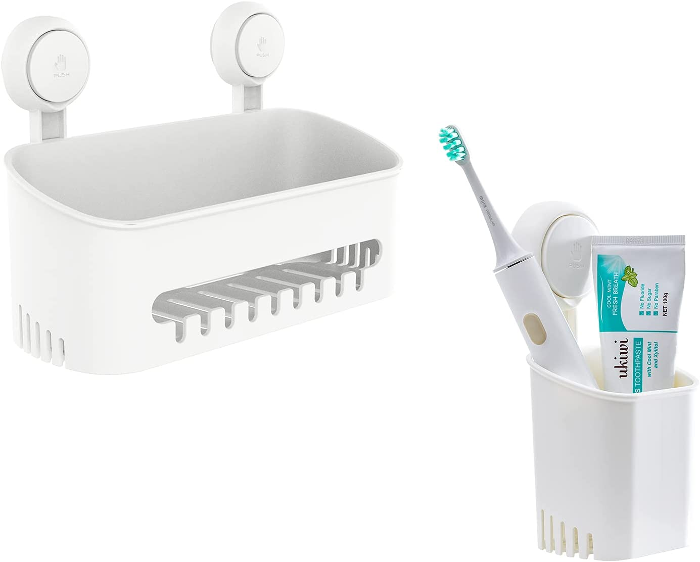 Suction Cup Shower Caddy With No Max 87% OFF Toothbrush Set Holder Drilling New York Mall