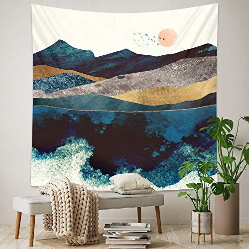 KHKJ Tapiz de Pintura al óleo de Paisaje nórdico Dormitorio decoración del hogar Tapiz colchón Decorativo Bohemio Manta de sofá A7 200x180cm