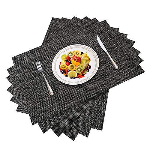 Dusor Tischset Abwaschbar, Platzset Abwischbar 6er Set, rutschfest Platzdeckchen, Hitzebeständig Abgrifffeste Tischset, für Zuhause Restaurant Küche Speisetisch, 30cm x 45cm, Dunkel Grau