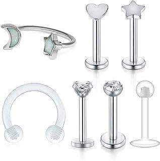 JFORYOU Cartilage Tragus Earrings-16G Stainless Steel Internally Threaded Labret Monroe Medusa Lip Ring Rook Helix Earring Stud Barbell Piercing Jewelry 8mm