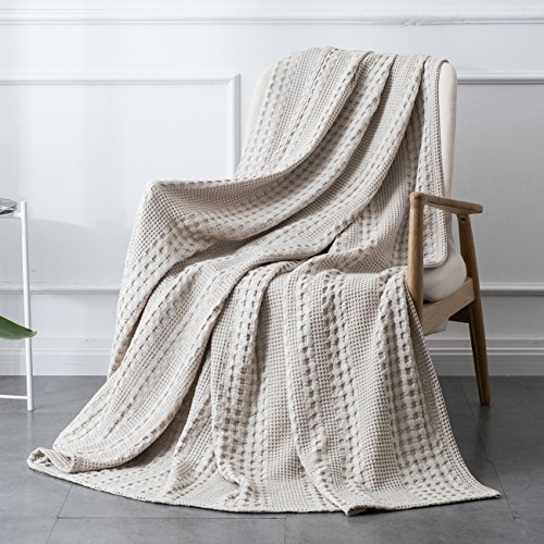 PHF Cotton Waffle Weave Blanket Home Decorations for All Season Cozy Soft Comfort King Size Khaki