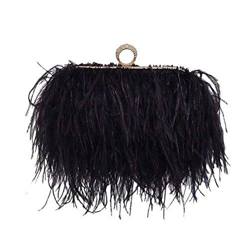 keland Bolso de hombro de embrague de plumas de avestruz real (Negro)