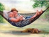 Kit de punto de cruz con tela estampada-Hamaca de pareja de ancianos-Kits de bordado para principiantes, niños y adultos con patrón impreso de 11 quilates -40x50cm