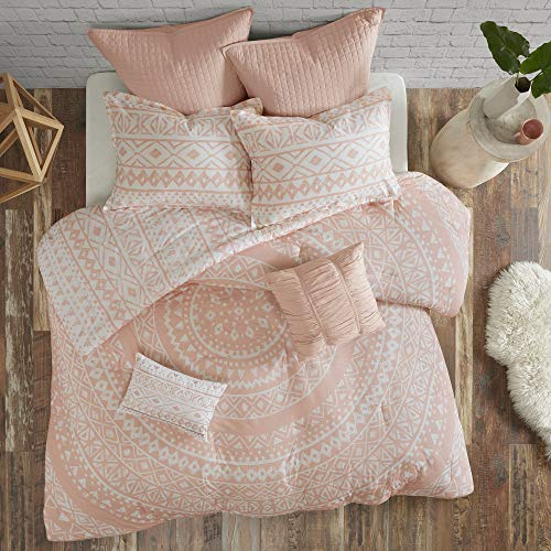 Urban Habitat Larisa Comforter Reversible Stripes 100% Cotton Shell Hand-Drawn Medallion Geometric Shape Print Soft Down Alternative Hypoallergenic All Season Bedding-Set, Full/Queen, Blush