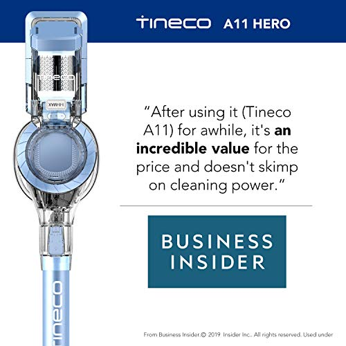 Tineco A11 Hero+ Cordless Stick Vacuum Cleaner, Strong Suction, Dual Charging Wall-Mount Lightweight Handheld Vacuum Cleaner, Pet Hair Hardwood Floor Carpet Deep Clean with 2 Batteries