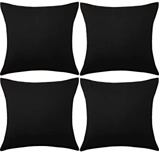 ALLAMRCU Set of 4 Decorative Outdoor Throw Pillow Covers,Patio Balcony Waterproof 18 x 18 Inches Square Pillow Cases,PU Co...
