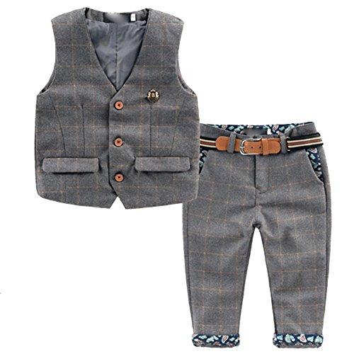 iBaste_Kinder [Kinderanzug Jungen Gentleman] 2 pcs Weste + Hose mit Gürtel Bekleidungsset Baby Kleinkind Kinderanzug Junge Anzug (92/98, Grau)