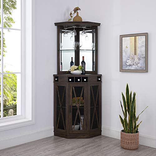 Home Source Corner Bar Unit with Built-in Wine Rack and Lower Cabinet (Oak)