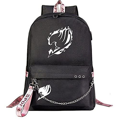 ZXXFR Mochila bolsos Anime Fairy Tail Teen Student School Bag Negro senderismo portatil ordenador instituto escolares juveniles bolso