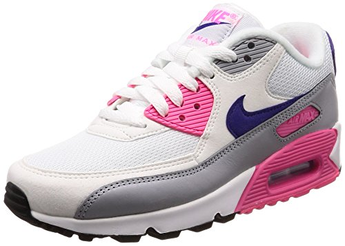 Nike Damen WMNS Air Max 90 Sneakers, Mehrfarbig (White/Court Purple/Wolf Grey/Laser Pink 136), 41 EU