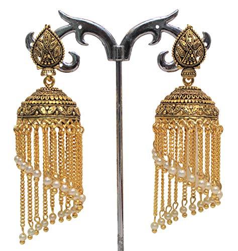 Ohrringe für Damen, Jhumka-Blatt-Stil, vergoldet, oxidiert, Bollywood, Pakistanisch, indisch, Jhumkas, weiße Perlen, Kette, Stil Jhumki, für Mädchen und Damen, Schmuck-Set