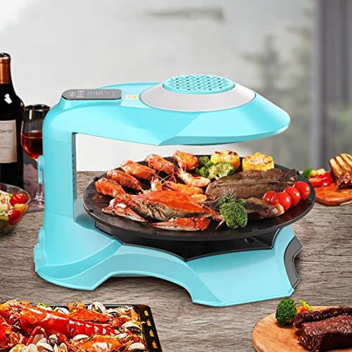 Máquina de cocinar olla caliente eléctrica casera Cubierta Parrilla 3D eléctrico infrarrojo Planchas libre de humo Barbacoa, Control de temporizador de pantalla táctil LCD de la parrilla del hogar ant