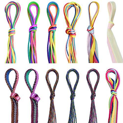 Noverlife Lot de 88 élastiques à cheveux colorés pour tresses, fils de cheveux, fils de tressage pour dreadlocks, guirlandes de cheveux métalliques scintillantes, accessoires de coiffure tendance
