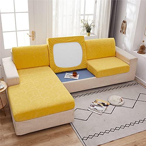 Funda de sofá Antideslizante Juego de fundas de sofá elásticas de terciopelo amarillo crema de 3 asientos para sala de estar, fundas de muebles, funda de asiento de cojín de sofá elástico 100-160cm