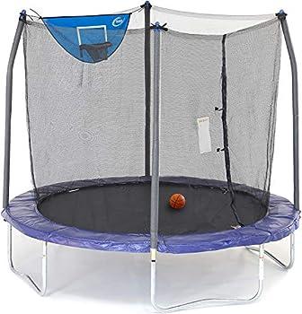 Skywalker Trampolines 8-Foot Jump N' Dunk Trampoline with Safety Enclosure and Basketball Hoop Blue