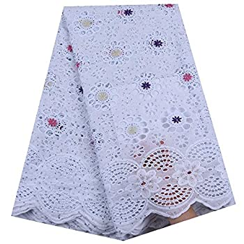 Zhangooqi Pure Cotton Design Swiss Voile Lace in Switzerland with Stones African Dry Lace Fabric Nigerian for Wedding  Color   Purple and RED Size   5YARDS