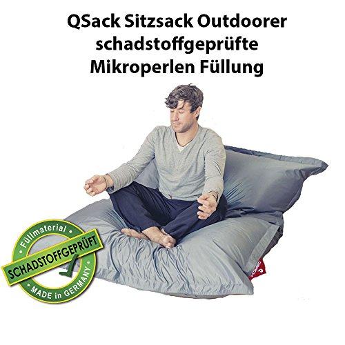 QSack Outdoor Sitzsack XXL, Toxproof Mikroperlen, schadstoffgeprüft, 140x180 cm (Dunkelgrau)