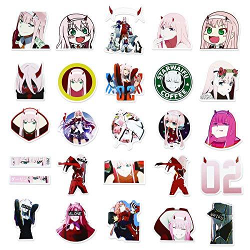 Darling in The FranXX 02 Aufkleber, Anime-Aufkleber für Laptop, Zero Two Aufkleber, klassische japanische Manga-Aufkleber, Geschenke, 50 Stück