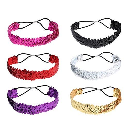 Lurrose 6 stücke Glitzer Haarbänder Pailletten Stirnbänder Elastische Haar Kopfbedeckung für Frauen und Mädchen (Zufällige Farben)