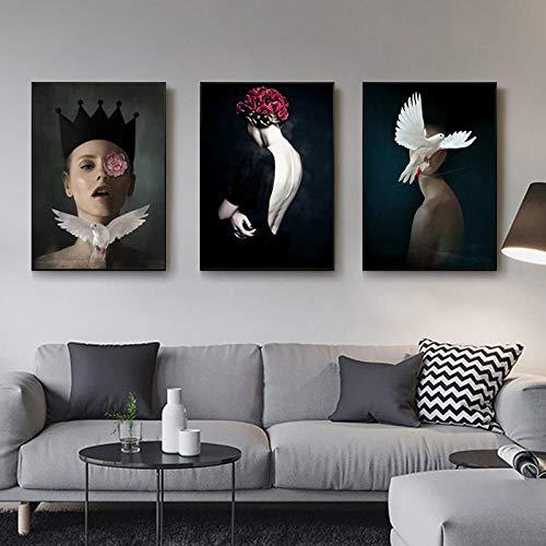 IGZAKER Meisje beschilderd canvas decoratie Wall Art Canvas Print Figuur Schilderen Schoonheidskoningin Vogel Foto Voor Woonkamer Home Decor-50x70cmx3pcs geen frame