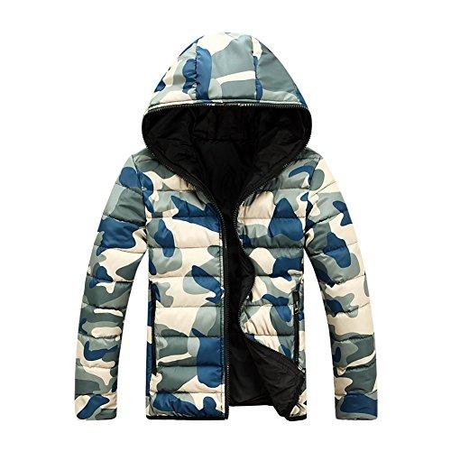 Yying Abrigos Hombre Chaqueta Camuflaje - Abrigo Otoño Outfit Cremallera Abrigos Calientes Chaqueta Acolchada Casual Diariamente Rojo Azul Verde M-4XL