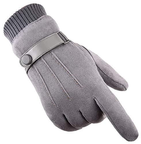 Gants Hiver chaud écran tactile pour homme femme thermiques en suede doublure polaire mitaines anti-glisse hivernales pour le sport en plein air Conduite Vélo Randonnée Course à pied Camping (gris)