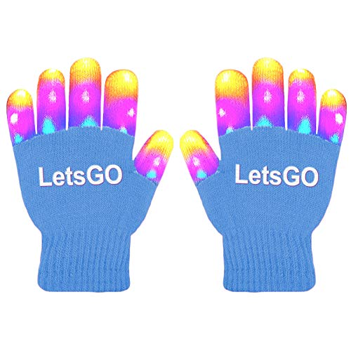 dmazing Gifts for 5-10 Years Old Kids Boys, Finger Light Flashing Led Gloves Fun Toys for 3-10 Years Old Boys Kids Birthday Party Dress Up Easter Gifts Stocking Fillers Blue