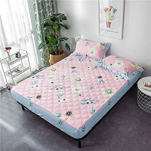 Lhmlyl - Protector de colchón acolchado antideslizante para cama de color sólido para mantener el calor en invierno, Cama de algodón con relleno de flores de primavera cálida, 1.8*2.0