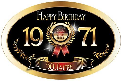 """""""Bester Jahrgang - 50 Jahre - Happy Birthday"""" 1971 der beste Jahrgang aller Zeiten Aufkleber"""