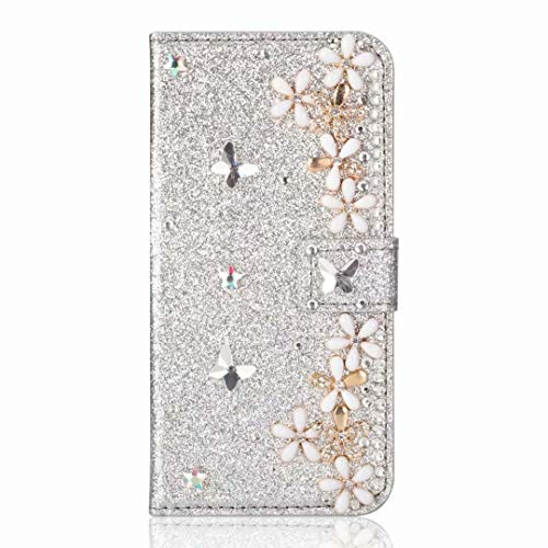 Samsung Galaxy A21s Phone Case, Bling Gems Diamond PU Leather Flip Wallet Cases Sparkly Crystal Rhinestone Cover with Magnetic Flower Buckle Card Slot Stand for Samsung Galaxy A21s Silver