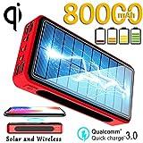 Framy 80000Mah Wireless Solar Power Bank 4 USB Téléphone Portable Chargeur Voyage extérieur chargeing Batterie Externe,Rouge