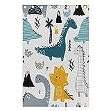 Mnsruu Cortinas infantiles con diseño de dinosaurios para dormitorio de niños, 139,7 x 213,4 cm, 2 paneles con ojales