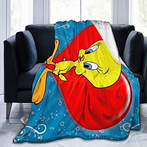 Ngrongk Yujk Tweety Vogel-Überwurf, Decke, Flanell, ultraweich, warm, Decke für Wohnzimmer, Schlafzimmer, 203,2 x 152,4 cm