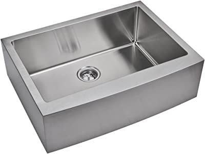 "Water Creation SSSG-AS-3322B 33"" X 22"" 15 mm Corner Radius Single Bowl Stainless Steel Hand Made Apron Front Kitchen Sink with Drain and Strainer"