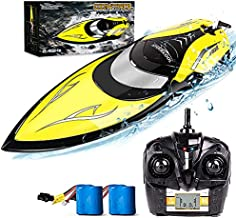 Remote Control Boats [Upgraded 2021]- SHARKOOL H106 Rc Self Righting Racing Boats for Boys & Girls, 2.4Ghz High Speed Remote Control Boat Toys for Kid(Yellow)
