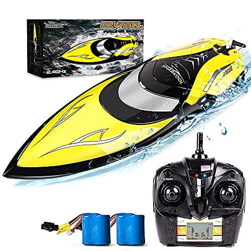 Remote Control Boat [Upgraded 2021] - SHARKOOL 2.4 GHZ 25+ MPH RC Boat, Best Gifts For Boaters