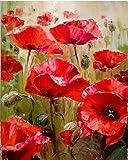 Cuadro de pintura al óleo pintado a mano con flores rojas y abstracto, por Numbers Kits modernos...