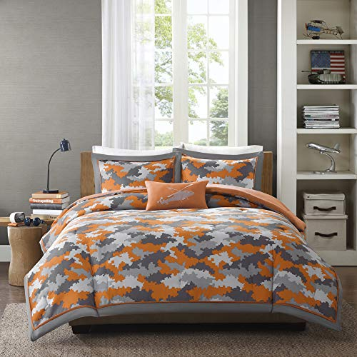 Mizone Lance 3 Piece Comforter Set, Orange, Twin/Twin X-Large